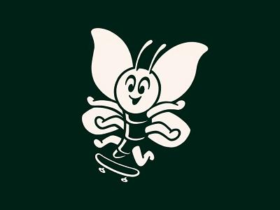 Skateboarding Butterfly minimal animal logo design icon design one color fly ollie kickflip bug skateboarding skateboard butterfly apparel design illustrator branding design icon logo vector illustration