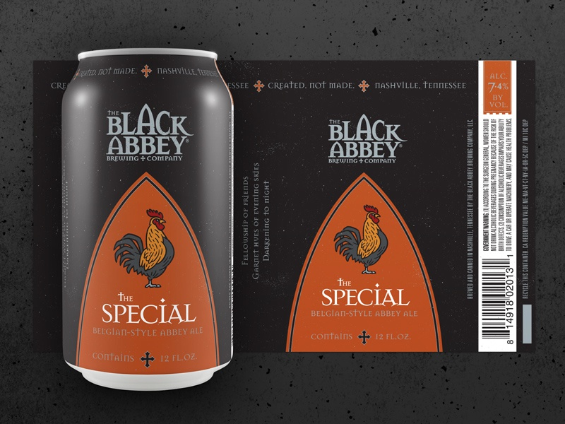 The Special for The Black Abbey Brewing Company package design craft beer rooster logo monoline monoweight medieval illustrator illustration icon beer brewing