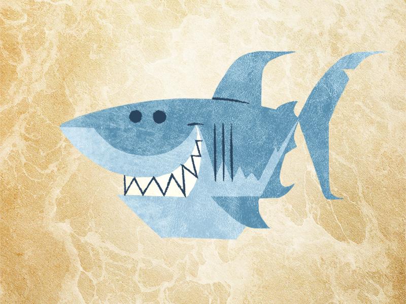 Smiling Shark cartoon simple flat story book illustration cute smiling shark
