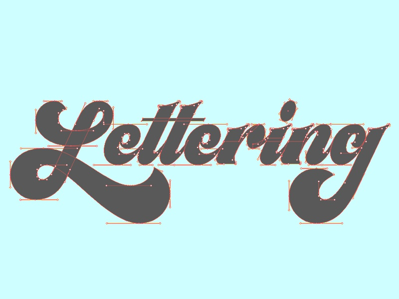 Lettering Vector Process bezier curves 70s script typography hand lettering process vector illustrator lettering wip