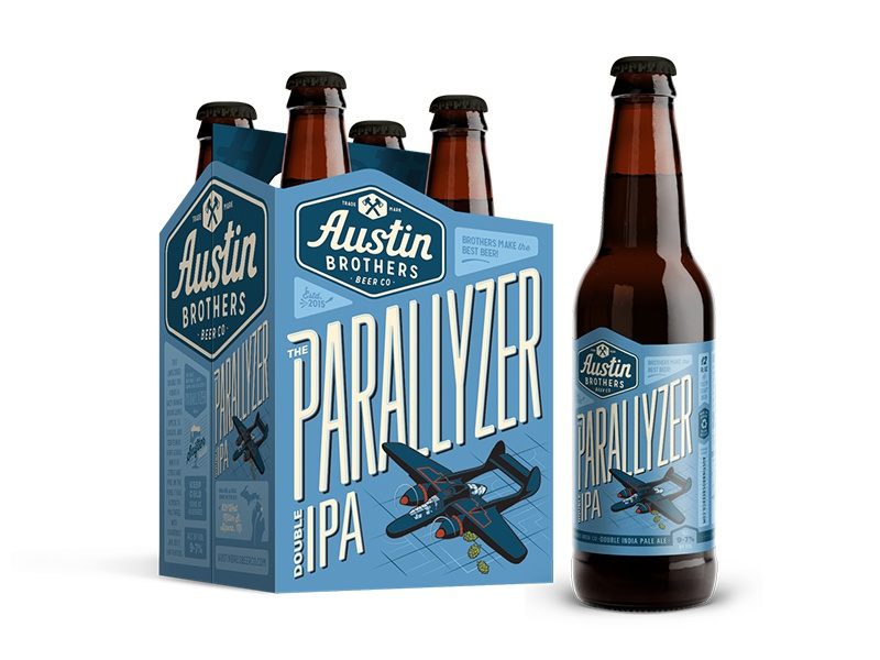The Parallyzer Double IPA for Austin Bros brewery brewing label design beer packaging package design branding craft beer lettering illustration