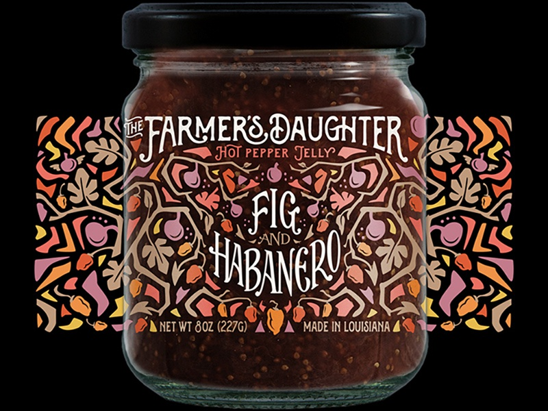 Fig Jelly for The Farmer's Daughter pattern flat typography vector simple product packaging jar food illustration lettering