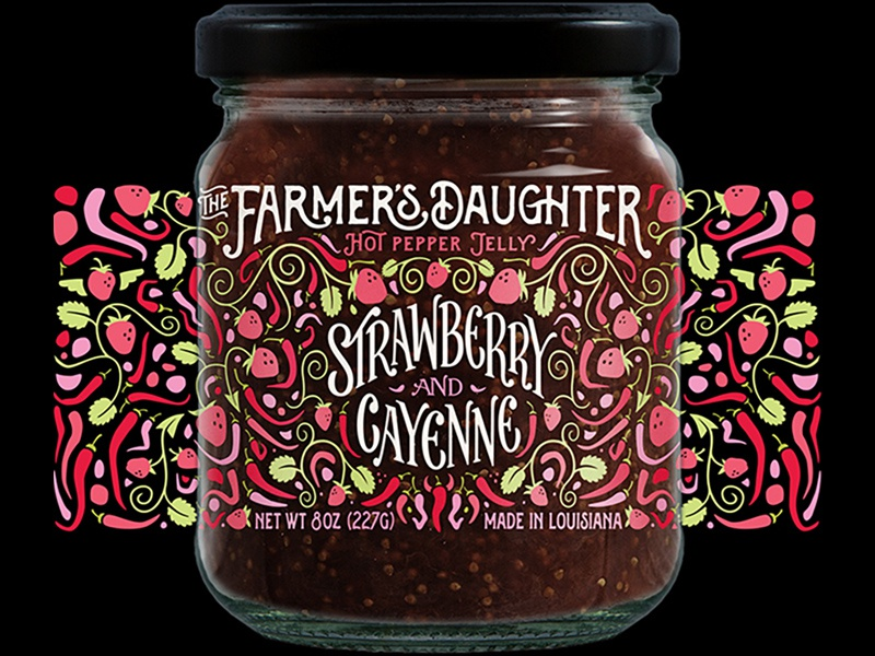 Strawberry Jelly for The Farmer's Daughter vector typography simple product pattern packaging lettering jar illustration food flat