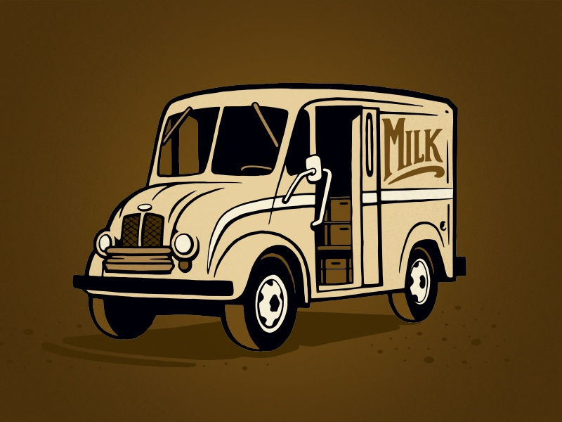Milk Route Stout for Austin Bros brewery beer vector truck editorial graphic illustrator illustration simple flat ink austin