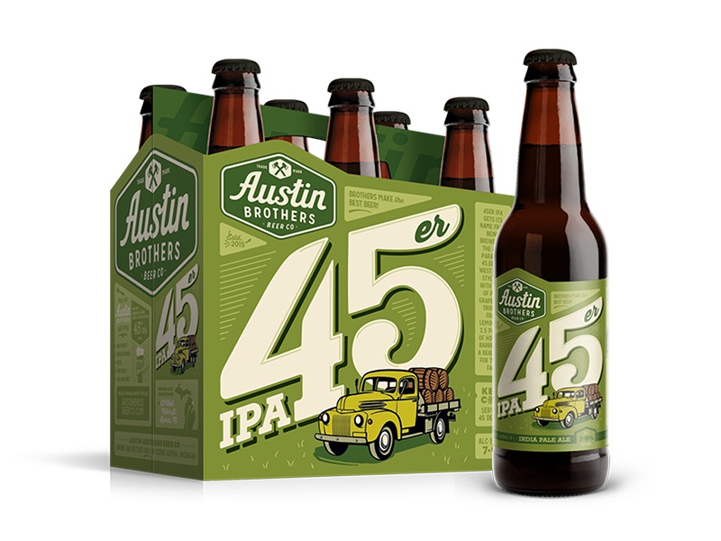 45er IPA for Austin Bros packaging package lettering design label illustration craft brewing brewery branding beer