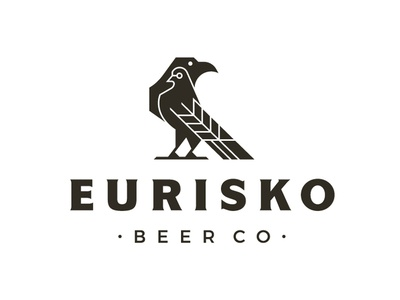 Eurisko Beer Co. Logo Design monoweight brewing icon beer monoline brand indentity branding beer branding craft brewery logo dove raven logomark craft beer illustration