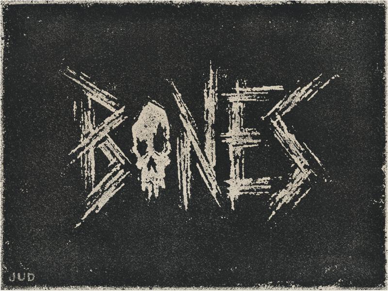 """Bones"" Hand Lettering handlettering design icon typography illustration rough grit distressed texture jon jones ufc lettering skull bones"