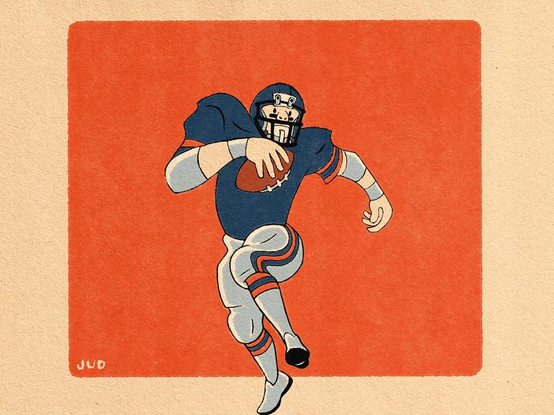 Football Player Illustration procreate digital illustration running back design chicago running football character cartoon illustration