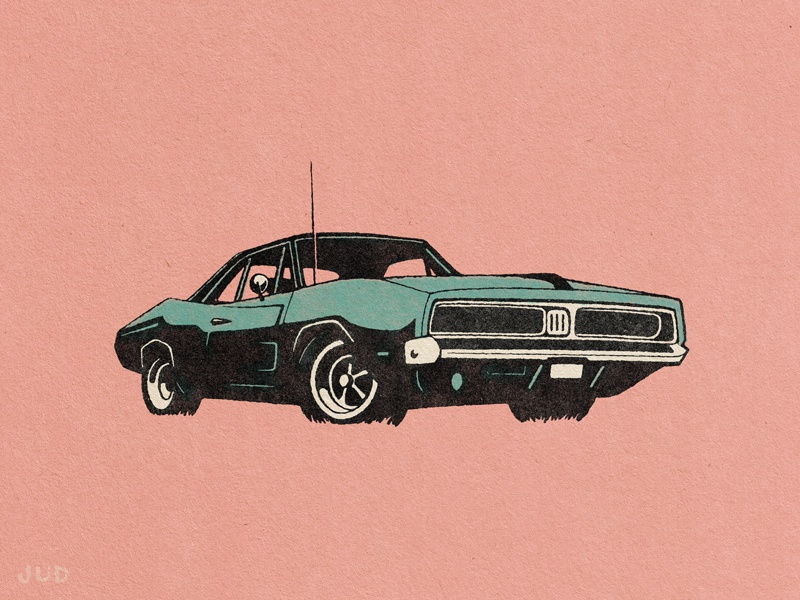 Muscle Car Illustration By Jud Lively Dribbble Dribbble