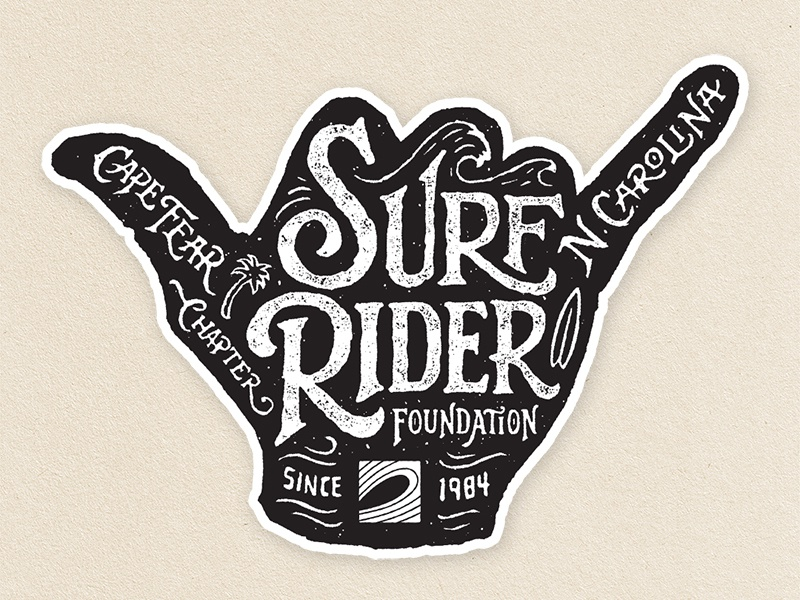 Surf Rider Foundation Stickers hand lettering surfing stickers logo vector typography icon branding design lettering illustration