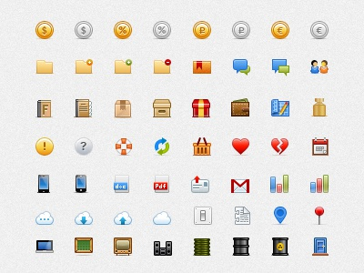 Large set of small colored icons set glyph color icon coin folder account bubble book box present wallet heart calendar phone mail cloud macbook graph tv
