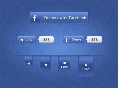Alternative Facebook Ui Free PSD ui user interface facebook share free psd ribbon button like social media social elements bubble glossy mate