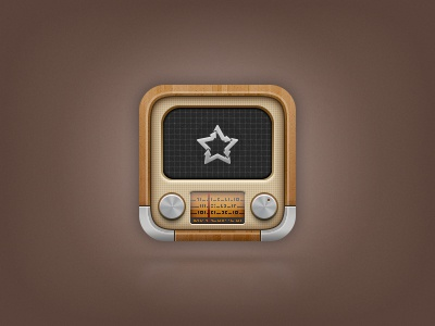 Again.fm icon for iOS radio icon ios iphone ipod ipad old vintage youtube screen dynamic wood timeline