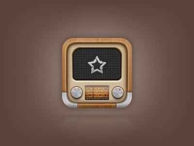 Again.fm icon for iOS radio icon ios iphone ipod ipad old vintage youtube screen dynamic wood timeline