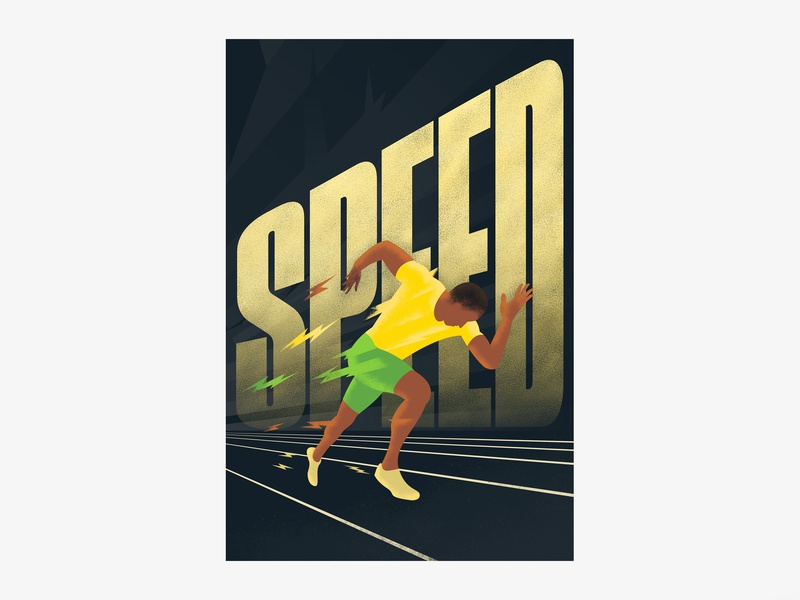 Speed flat simple yellow and green green yellow running man high school student poster sports athletics running typography design illustration