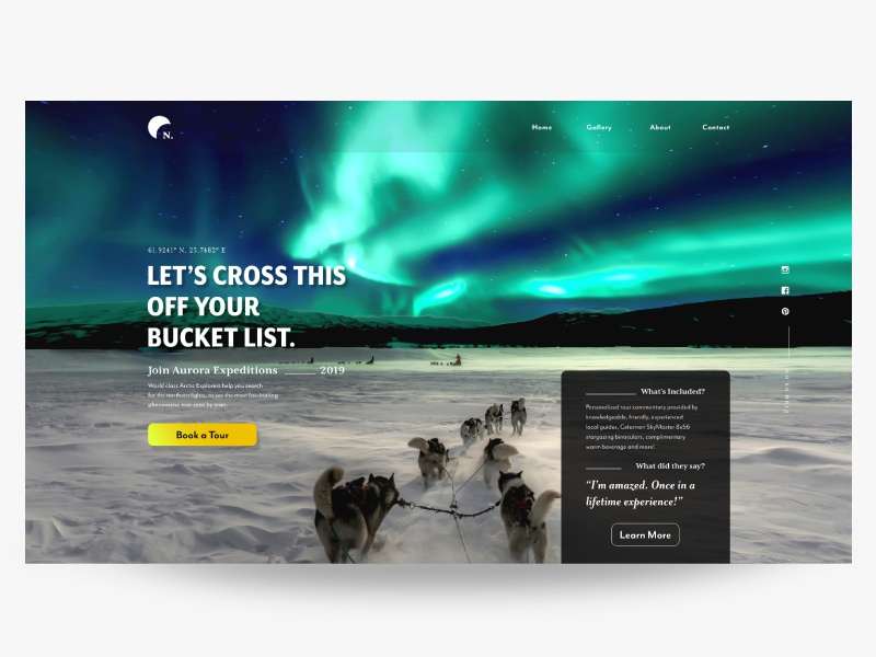 UI Practice-1 --- Northern Lights Tour Landing Page by erdem