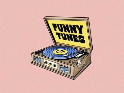 FUNNY TUNES retro music gramophone smile illustration logo badge illustrator designer artwork artist coverart alterfan vector
