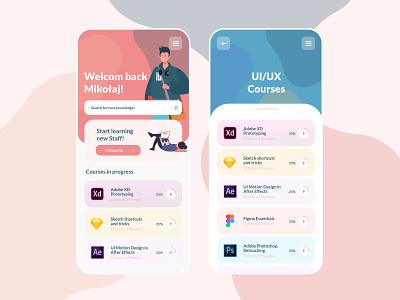 Learning Online Courses Mobile App #1 learning app best design dailyui app ux ui ui design user interface ui  ux online courses elearning learning best designs challenge daily ui