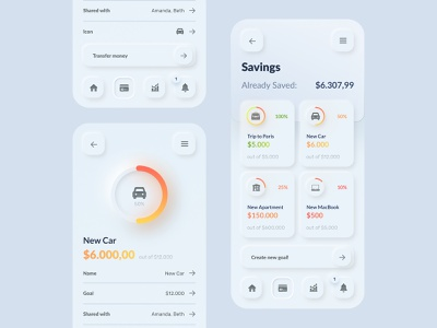Skeuomorph Wallet, Banking App UI Kit neuomorphism skeuomorph app savings ui challenge daily ui ui design user interface ui  ux ui kit wallet banking app banking app skeuomorphic skeuomorphism skeuomorph