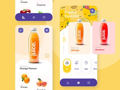 E-commerce Juice App Concept orange yellow juicy uiux uidesign user interfaces app design ui  ux ux best design challenge daily ui user interface ui ui design vegetables fruits juices juice app
