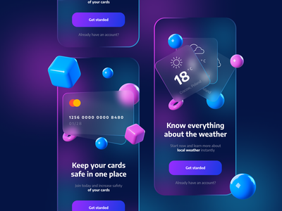Glassmorphism App Onboarding Screens figma onboarding gloss glossy blue purple glassmorphism glassy glass ux ui  ux app design daily ui ui app best design challenge user interface ui design