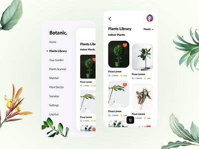 Botanic. Plants Library App 🌱 library garden flowers plants design ux app best design challenge daily ui ui  ux user interface ui design ui