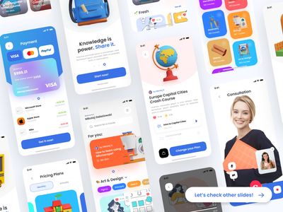 """📓 Thinkific """"Knowledge is power. Share it."""" challenge animation onboarding profile page payment pricing courses app dribbble contest thinkific design challenge daily ui user interface ui design ui"""