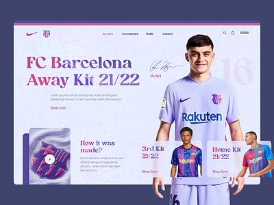 FC Barcelona Away Jersey Product Page Web Design soccer football barcelona redesign webdesign web design web