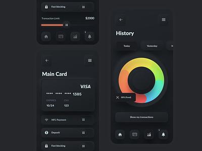 Skeuomorph Banking App Dark Mode application payment daily ui challenge best design user interface ui  ux ui design ui dark mode dark ui bank app banking neumorphism skeuomorphism skeuomorphic skeuomorph skeuo