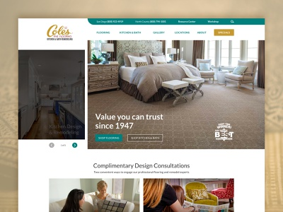 Website Coles Fine Flooring creative uiux visual design web design clean landing ui design ux ui homepage website web landing page design
