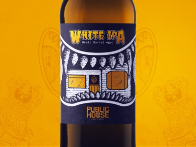 Public House Craft Beer - White IPA identity packaging label branding typography graphic design vector white indian pale ale tijuana beer label beer art beer design illustration