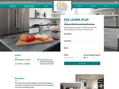 Landing Page - Coles Fine Flooring workshop form furniture bathroom kitchen website uidesign lead gen clean ui clean color creative agency ux landing page ui design