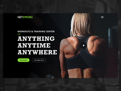 Landing page GET STRONG ux ui weightlifting adobe xd website web design athlete sports crossfit training workouts gym landing page