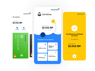Bancolombia App - Experiments UI account bank card money transfer home money bank bancolombia branding screen blue design ux ui