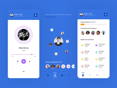 UI Experiments File App cloud app grid file nearby music user personal management drive cloud dashboard colors blue design ux ui