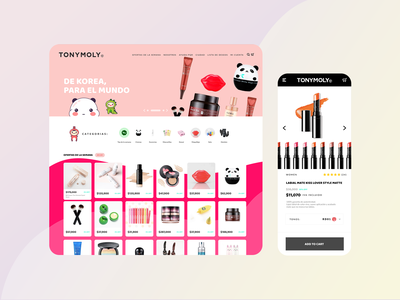 Home and Product page  TONYMOLY Concept ecomerce less simple beautiful landing artwork kawaii gradient colors web flat design ui