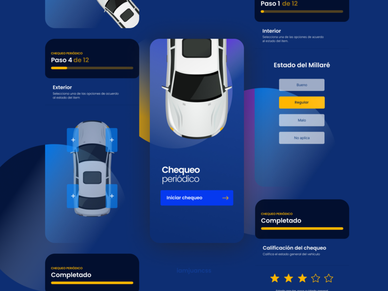Concept App   Maintenance Car settings automotive car mobile mobile ui branding elements maintenance blue design ui
