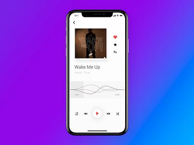Music Player UI - UX slim flat iphonex ios ui. music player ux player music
