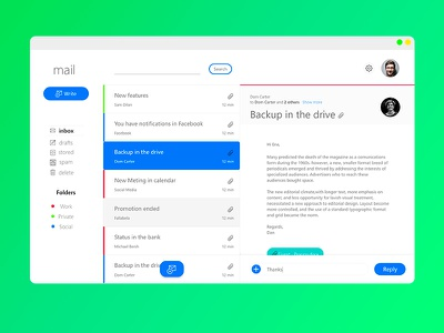 Simple mail design responsive web users category blue dashboard ui ux design structure green mail