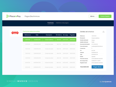 Simple invoice design enterprise payment pay screen gradient blue in browser data invoice manager colors dashboard web flat ui design ux