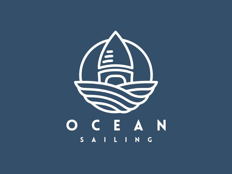 Ocean Sailing Logo logo for sale sailing ocean affinity designer branding illustration identity brand logo