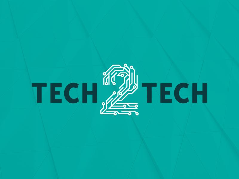 Tech2Tech Logo clean letter mark technology logo business technology vector branding design brand illustration flat colorful affinity designer online shop blog electronics numbers tech logo identity
