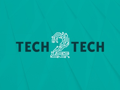 Tech2Tech Logo clean letter mark technology logo business technology vector branding design brand illustration flat colorful affinity designer online shop blog electronics numbers tech logo identity