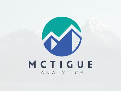 McTigue Analytics Logo vector design illustration branding letter mark business logo flat identity brand turqoise blue analytics mountains charts
