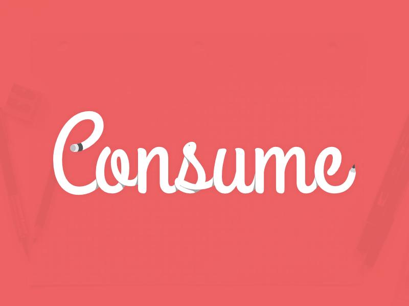 Consume Pencil Concept hand lettering cursive subtle shadows pencil design clean vector flat illustration brand identity type art logo design logo branding typography