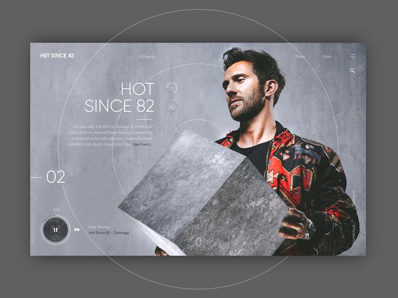 Hot Since 82 Music - Website Concept techno music contrast grey ux  ui website web minimal design ux ui