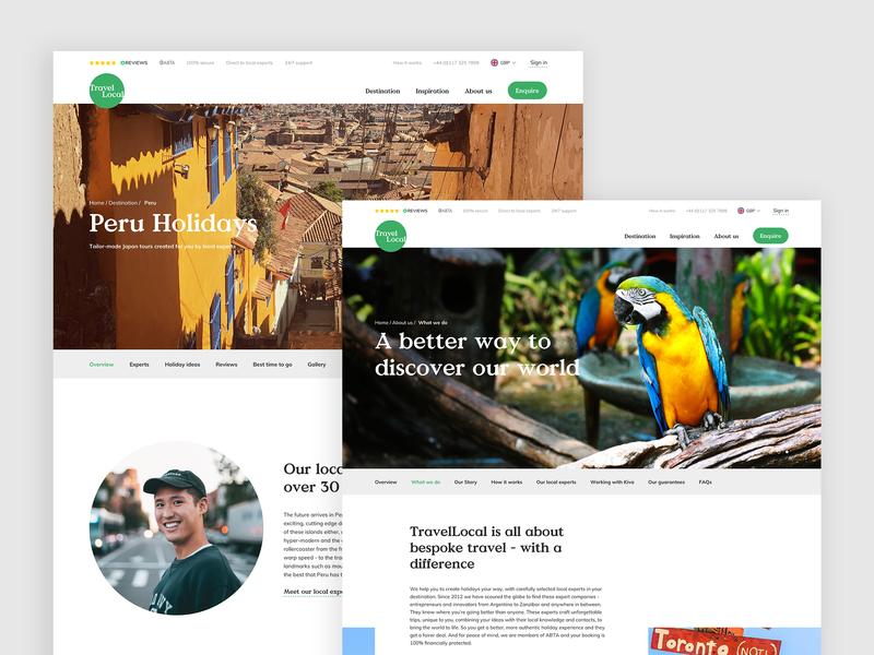 Travel Local Website design colours brand typography website ui ux travel mobile desktop app white photography serif