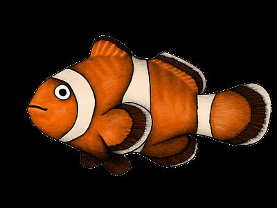 Clownfish illustration swim red orange drawing sea life sea animal sea ocean fish animal illustration sea animals clownfish
