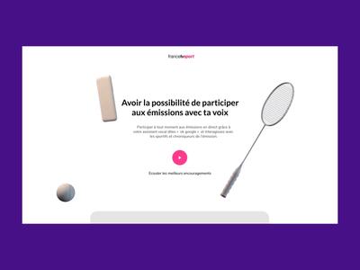 FranceTvSport | Promo Website website transition animation 3d web uidesign after effect ui design concept