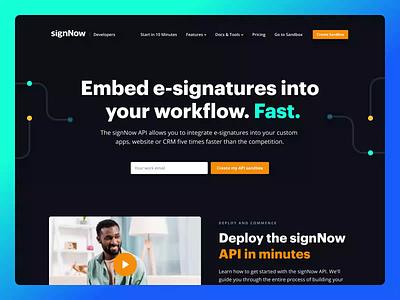 signNow API landing page ui design web design landing landing page e-signature e-sign design dark theme dark mode dark ui dark web ui api minimal clean